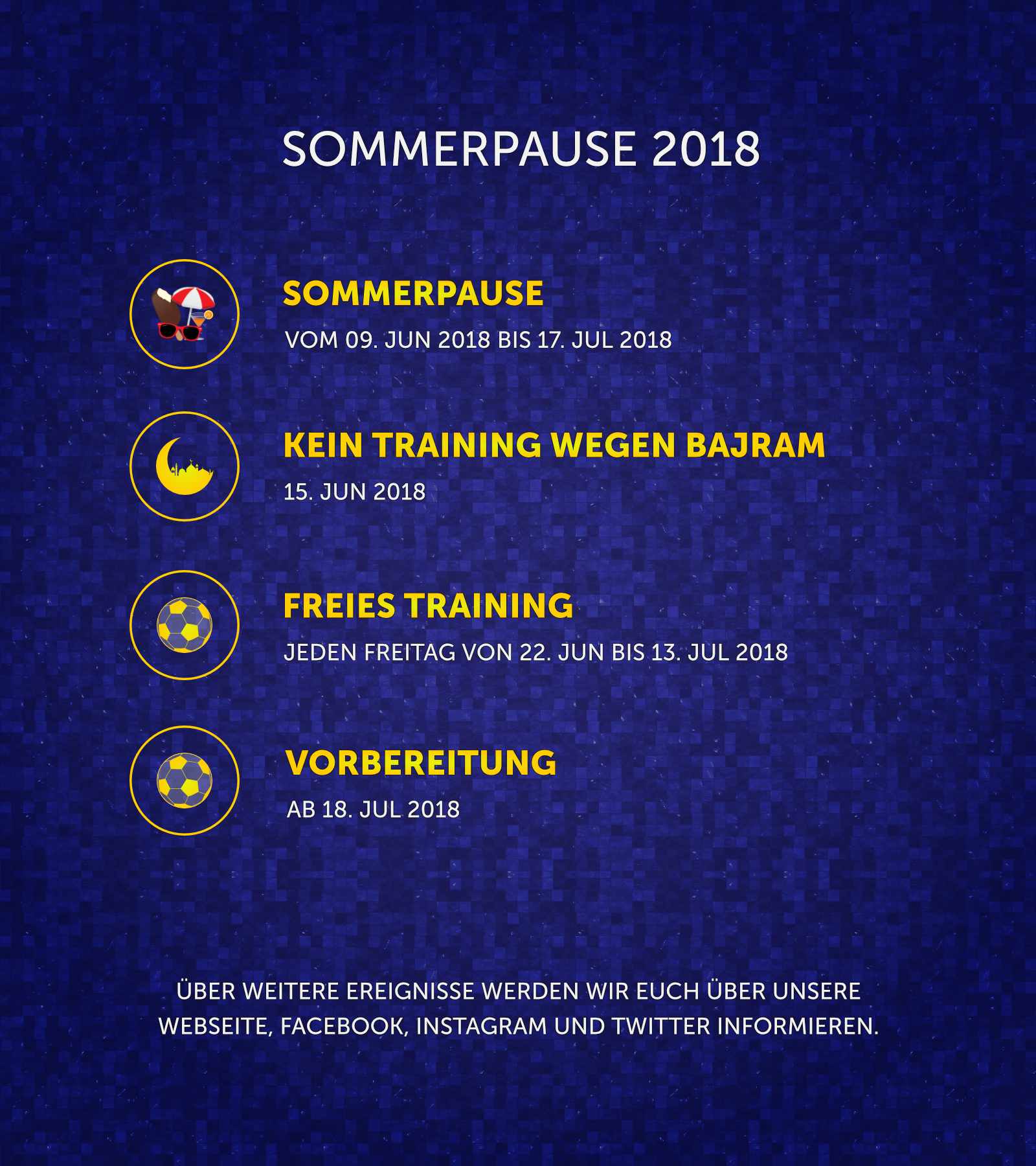 Terminplan - Sommerpause 2018